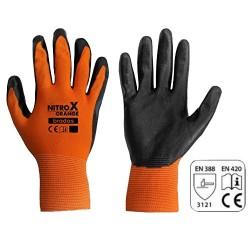 Γάντια Εργασίας Νιτριλίου Πλεκτά NITROX RWNO10 Μαύρα-Πορτοκαλί Bradas